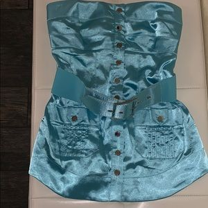 Turquoise Bebe tube top with belt ✨💫